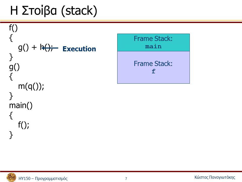 ΗΥ150 – Προγραμματισμός Κώστας Παναγιωτάκης 7 Η Στοίβα (stack) f() { g() + h(); } g() { m(q()); } main() { f(); } Frame Stack: main Frame Stack: f Execution