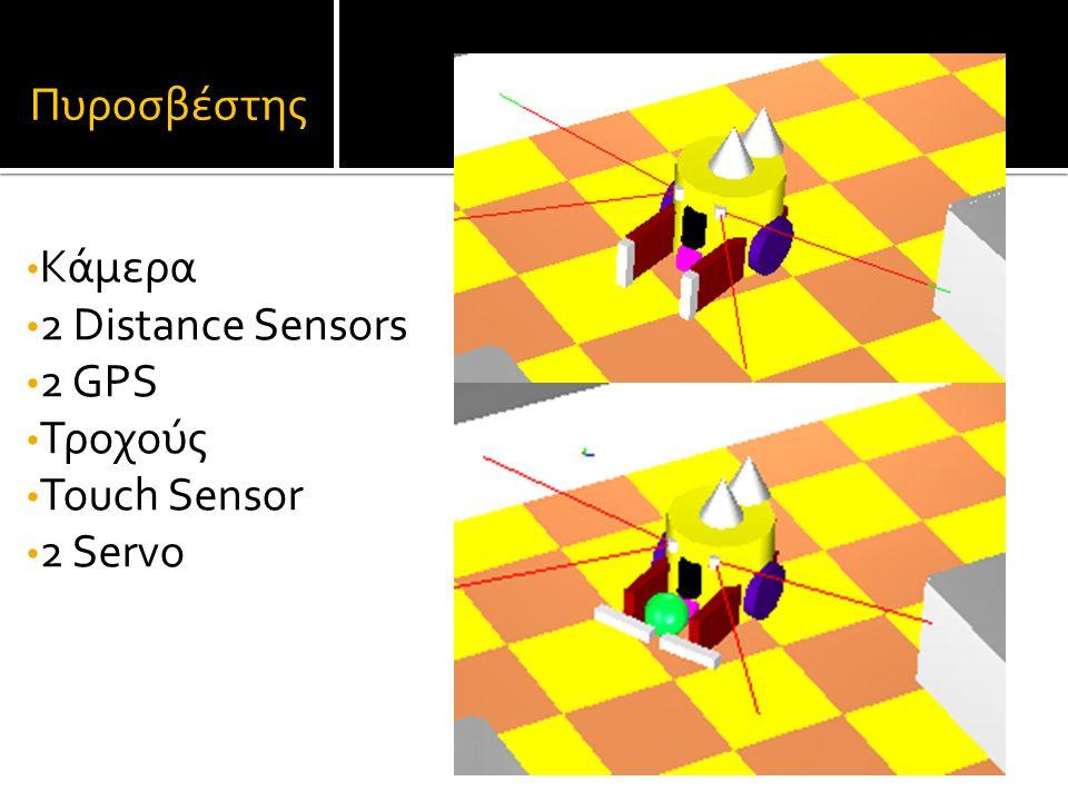 Πυροσβέστης Κάμερα 2 Distance Sensors 2 GPS Τροχούς Touch Sensor 2 Servo