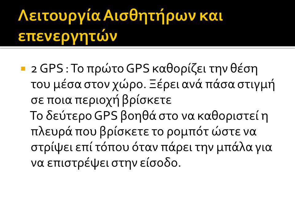  2 GPS : Το πρώτο GPS καθορίζει την θέση του μέσα στον χώρο. Ξέρει ανά πάσα στιγμή σε ποια περιοχή βρίσκετε Το δεύτερο GPS βοηθά στο να καθοριστεί η