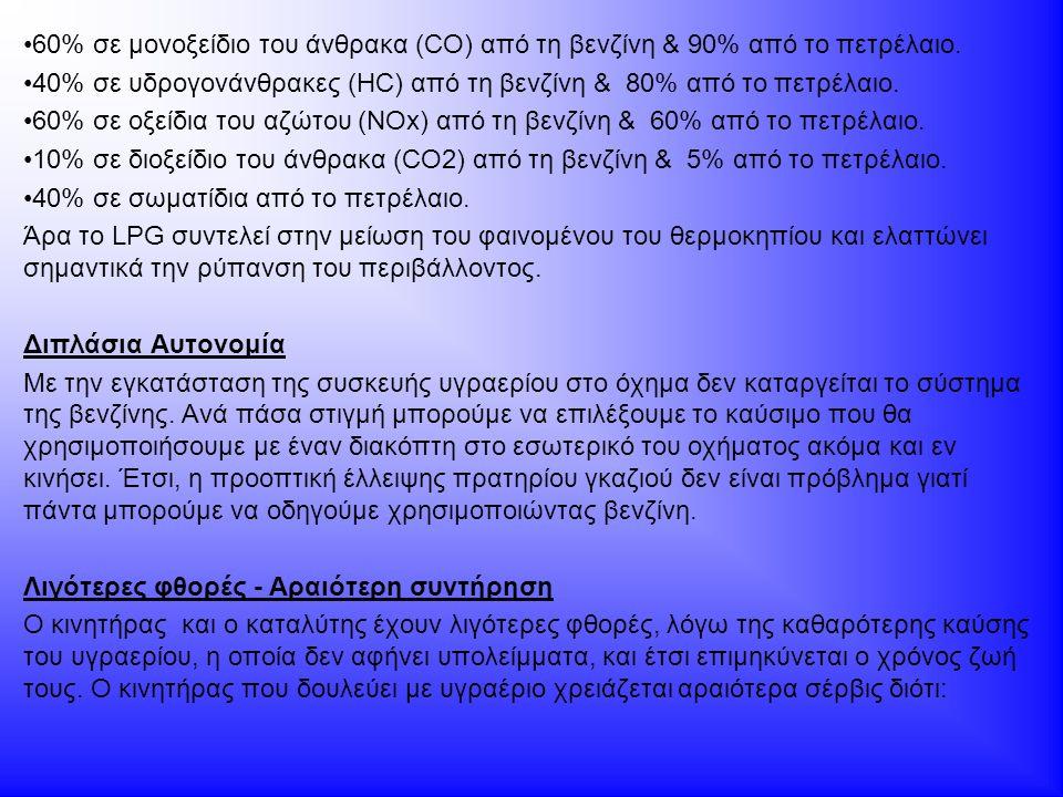 60% σε μονοξείδιο του άνθρακα (CO) από τη βενζίνη & 90% από το πετρέλαιο. 40% σε υδρογονάνθρακες (HC) από τη βενζίνη & 80% από το πετρέλαιο. 60% σε οξ
