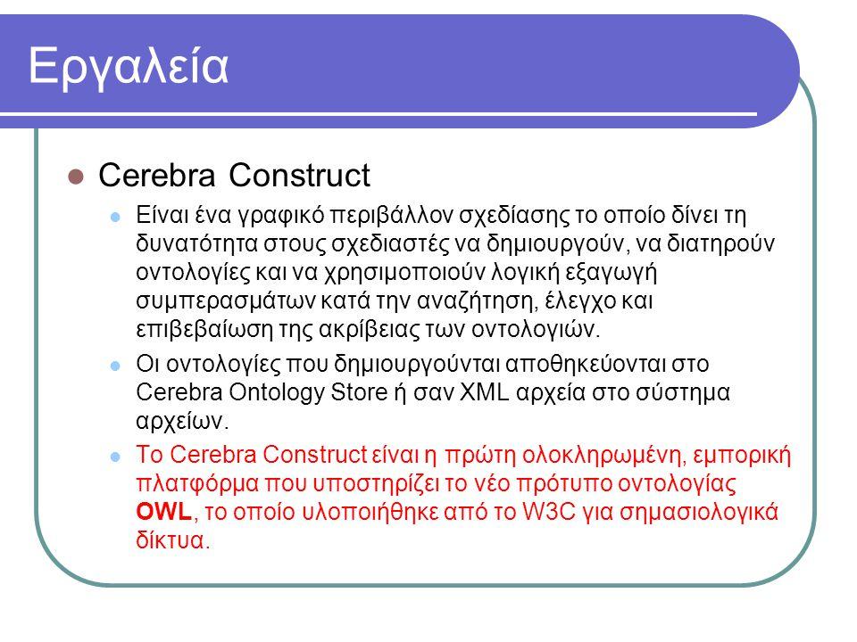 Εργαλεία Cerebra Construct Είναι ένα γραφικό περιβάλλον σχεδίασης το οποίο δίνει τη δυνατότητα στους σχεδιαστές να δημιουργούν, να διατηρούν οντολογίε