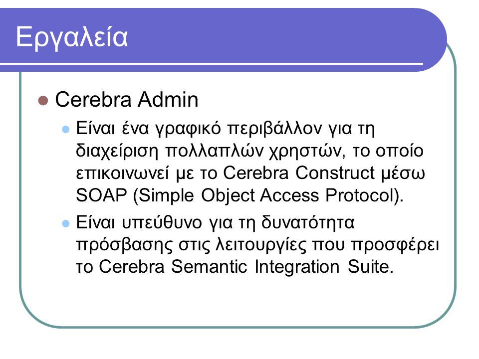 Εργαλεία Cerebra Admin Είναι ένα γραφικό περιβάλλον για τη διαχείριση πολλαπλών χρηστών, το οποίο επικοινωνεί με το Cerebra Construct μέσω SOAP (Simple Object Access Protocol).
