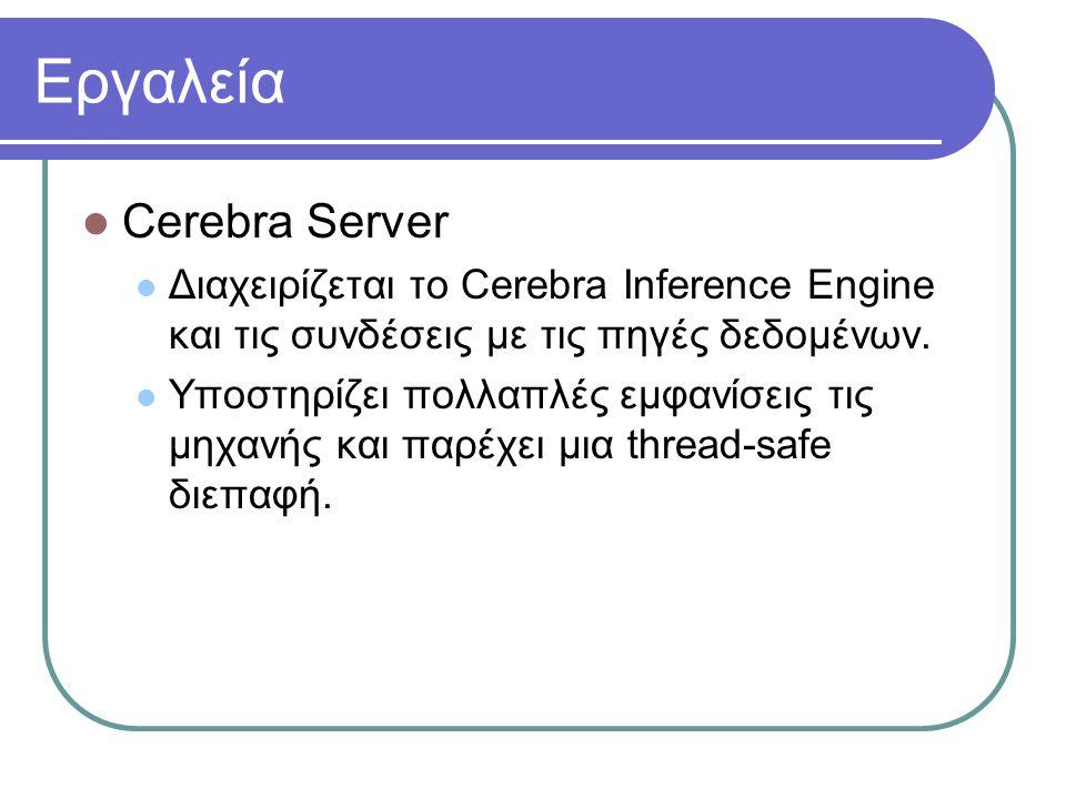 Εργαλεία Cerebra Server Διαχειρίζεται το Cerebra Inference Engine και τις συνδέσεις με τις πηγές δεδομένων. Υποστηρίζει πολλαπλές εμφανίσεις τις μηχαν