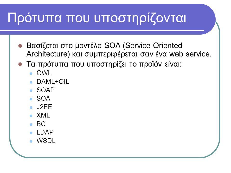 Πρότυπα που υποστηρίζονται Βασίζεται στο μοντέλο SOA (Service Oriented Architecture) και συμπεριφέρεται σαν ένα web service. Τα πρότυπα που υποστηρίζε