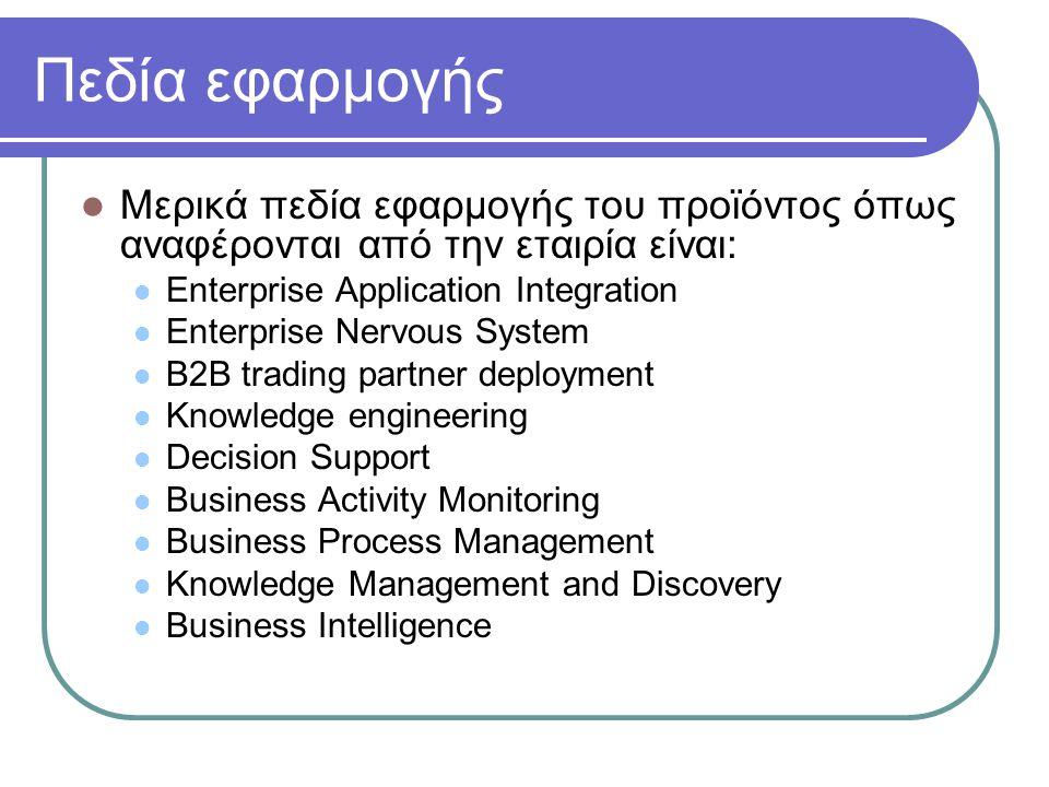 Πεδία εφαρμογής Μερικά πεδία εφαρμογής του προϊόντος όπως αναφέρονται από την εταιρία είναι: Enterprise Application Integration Enterprise Nervous Sys