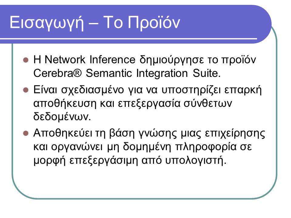 Εισαγωγή – Το Προϊόν Η Network Inference δημιούργησε το προϊόν Cerebra® Semantic Integration Suite. Είναι σχεδιασμένο για να υποστηρίζει επαρκή αποθήκ