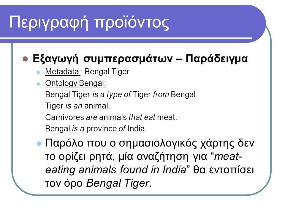 Περιγραφή προϊόντος Εξαγωγή συμπερασμάτων – Παράδειγμα Metadata : Bengal Tiger Ontology Bengal: Bengal Tiger is a type of Tiger from Bengal. Tiger is