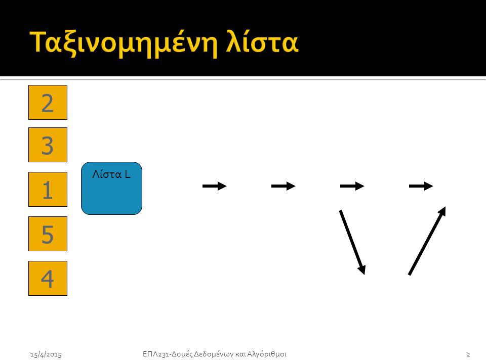 ΕΠΛ231-Δομές Δεδομένων και Αλγόριθμοι2 Λίστα L 1 2 3 4 5