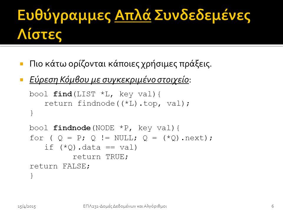 ΕΠΛ231-Δομές Δεδομένων και Αλγόριθμοι6  Πιο κάτω ορίζονται κάποιες χρήσιμες πράξεις.  Εύρεση Κόμβου με συγκεκριμένο στοιχείο: bool find(LIST *L, key