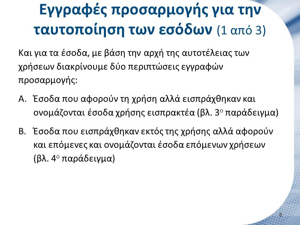Εγγραφές προσαρμογής για την ταυτοποίηση των εσόδων (2 από 3)  3 ο Παράδειγμα: Στις 31/12/2012 το ξενοδοχείο ΑΛΦΑ, διαπιστώνει ότι το Πρακτορείο ΔΕΛΤΑ του οφείλει 150.000 € για την περίοδο 1/7 -31/8/2012.
