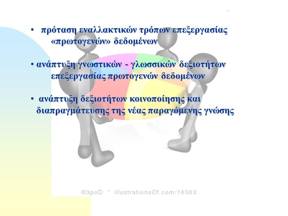 πρόταση εναλλακτικών τρόπων επεξεργασίας «πρωτογενών» δεδομένων πρόταση εναλλακτικών τρόπων επεξεργασίας «πρωτογενών» δεδομένων ανάπτυξη γνωστικών - γλωσσικών δεξιοτήτων επεξεργασίας πρωτογενών δεδομένωνανάπτυξη γνωστικών - γλωσσικών δεξιοτήτων επεξεργασίας πρωτογενών δεδομένων ανάπτυξηδεξιοτήτων κοινοποίησης και διαπραγμάτευσης της νέας παραγόμενης γνώσης ανάπτυξη δεξιοτήτων κοινοποίησης και διαπραγμάτευσης της νέας παραγόμενης γνώσης