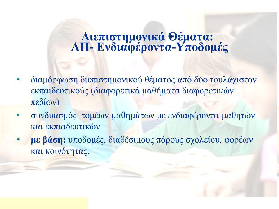 Διεπιστημονικά Θέματα: ΑΠ- Ενδιαφέροντα-Υποδομές διαμόρφωση διεπιστημονικού θέματος από δύο τουλάχιστον εκπαιδευτικούς (διαφορετικά μαθήματα διαφορετικών πεδίων) συνδυασμός τομέων μαθημάτων με ενδιαφέροντα μαθητών και εκπαιδευτικών με βάση: με βάση: υποδομές, διαθέσιμους πόρους σχολείου, φορέων και κοινότητας.