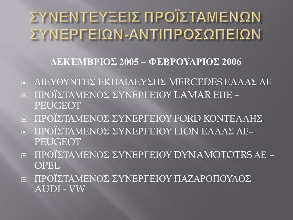 ΔΕΚΕΜΒΡΙΟΣ 2005 – ΦΕΒΡΟΥΑΡΙΟΣ 2006  ΔΙΕΥΘΥΝΤΗΣ ΕΚΠΑΙΔΕΥΣΗΣ MERCEDES ΕΛΛΑΣ ΑΕ  ΠΡΟΪΣΤΑΜΕΝΟΣ ΣΥΝΕΡΓΕΙΟΥ LAMAR ΕΠΕ – PEUGEOT  ΠΡΟΪΣΤΑΜΕΝΟΣ ΣΥΝΕΡΓΕΙΟΥ FORD ΚΟΝΤΕΛΛΗΣ  ΠΡΟΪΣΤΑΜΕΝΟΣ ΣΥΝΕΡΓΕΙΟΥ LION ΕΛΛΑΣ ΑΕ – PEUGEOT  ΠΡΟΪΣΤΑΜΕΝΟΣ ΣΥΝΕΡΓΕΙΟΥ DYNAMOTOTRS ΑΕ – OPEL  ΠΡΟΪΣΤΑΜΕΝΟΣ ΣΥΝΕΡΓΕΙΟΥ ΠΑΖΑΡΟΠΟΥΛΟΣ AUDI - VW