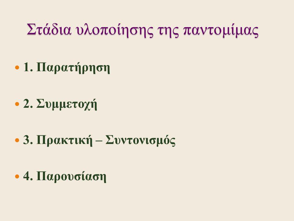 Στάδια υλοποίησης της παντομίμας 1. Παρατήρηση 2. Συμμετοχή 3. Πρακτική – Συντονισμός 4. Παρουσίαση