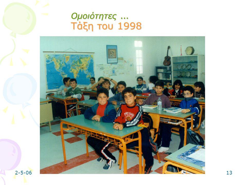 2-5-0613 Ομοιότητες … Τάξη του 1998