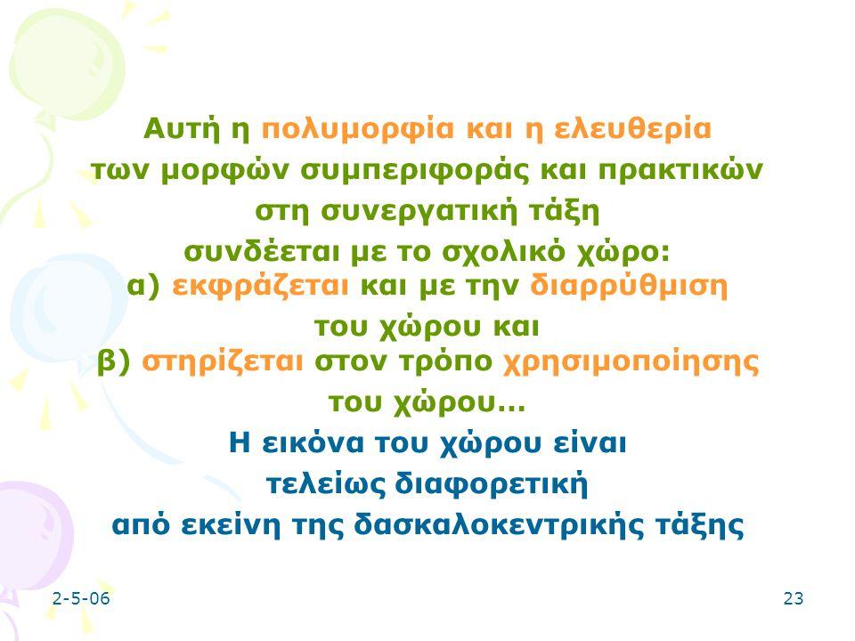 2-5-0623 Αυτή η πολυμορφία και η ελευθερία των μορφών συμπεριφοράς και πρακτικών στη συνεργατική τάξη συνδέεται με το σχολικό χώρο: α) εκφράζεται και