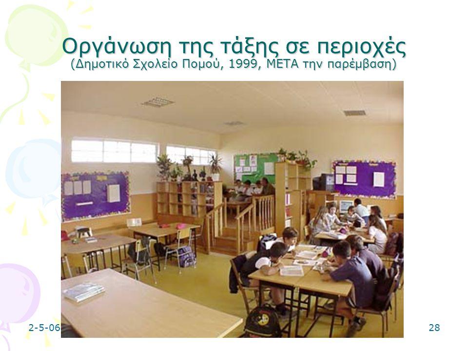 2-5-0628 Οργάνωση της τάξης σε περιοχές (Δημοτικό Σχολείο Πομού, 1999, ΜΕΤΑ την παρέμβαση)