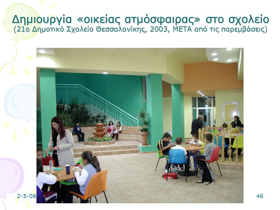 2-5-0646 Δημιουργία «οικείας ατμόσφαιρας» στο σχολείο (21ο Δημοτικό Σχολείο Θεσσαλονίκης, 2003, META από τις παρεμβάσεις)