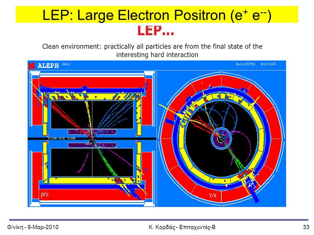 Θ/νίκη - 9-Μαρ-2010Κ. Κορδάς - Επιταχυντές-Β33 LEP: Large Electron Positron (e + e -- )
