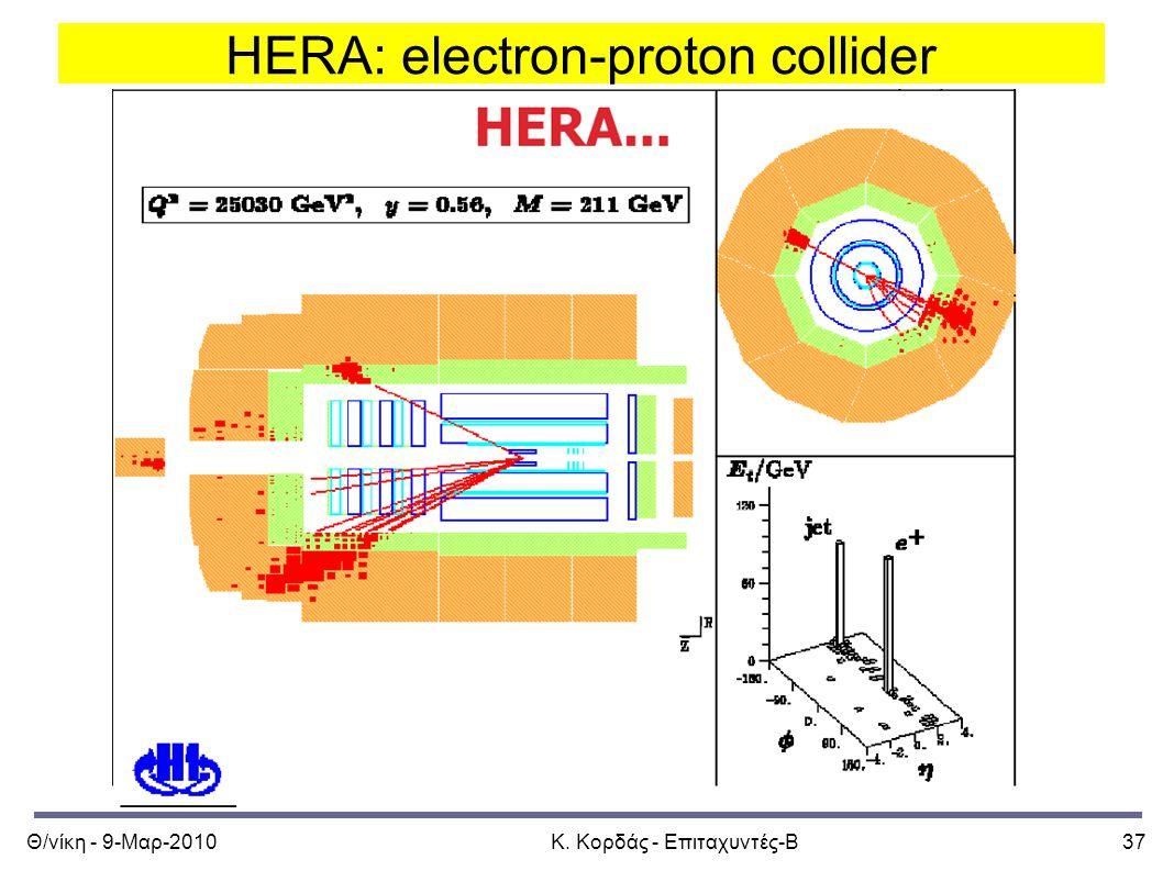 Θ/νίκη - 9-Μαρ-2010Κ. Κορδάς - Επιταχυντές-Β37 HERA: electron-proton collider