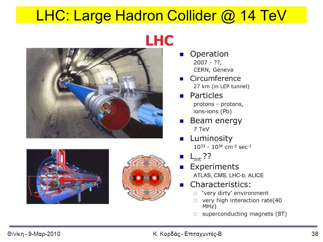 Θ/νίκη - 9-Μαρ-2010Κ. Κορδάς - Επιταχυντές-Β38 LHC: Large Hadron Collider @ 14 TeV