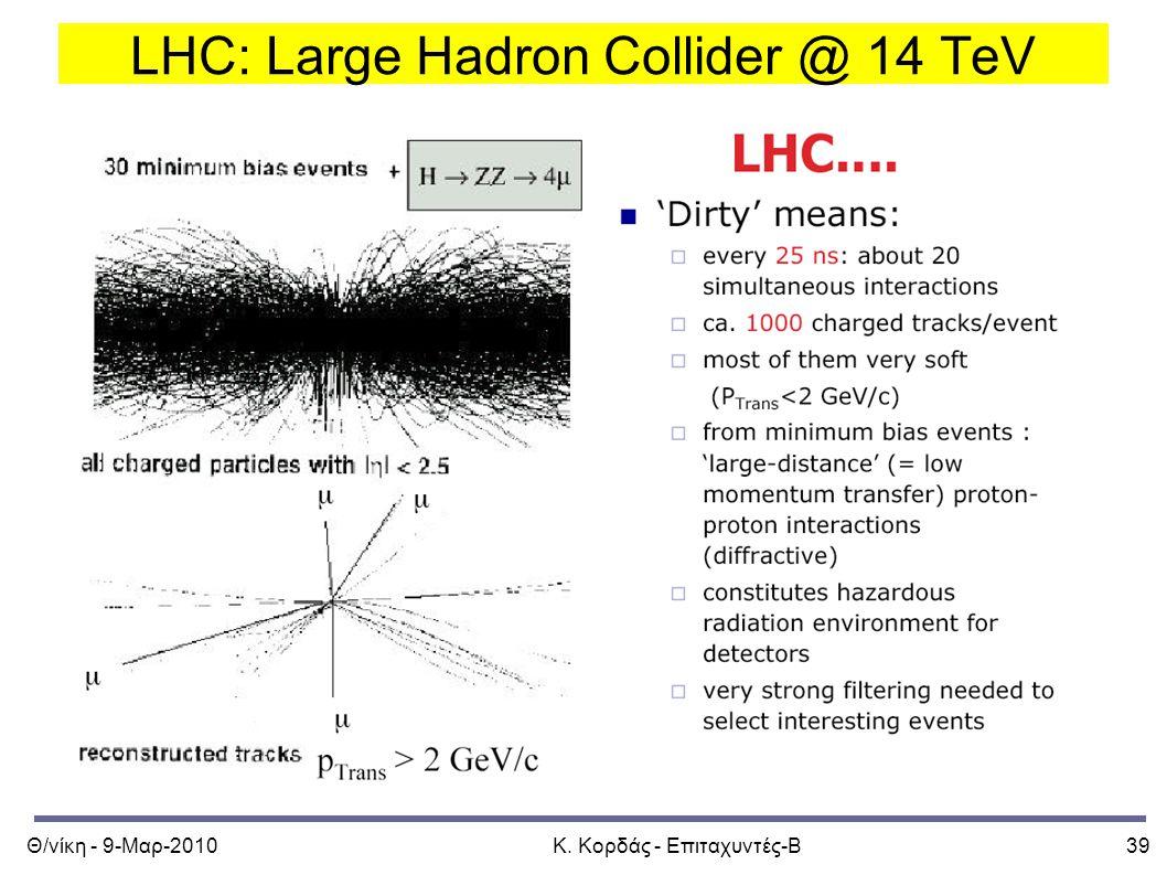 Θ/νίκη - 9-Μαρ-2010Κ. Κορδάς - Επιταχυντές-Β39 LHC: Large Hadron Collider @ 14 TeV