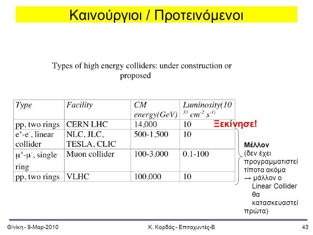 Θ/νίκη - 9-Μαρ-2010Κ. Κορδάς - Επιταχυντές-Β43 Καινούργιοι / Προτεινόμενοι Ξεκίνησε.