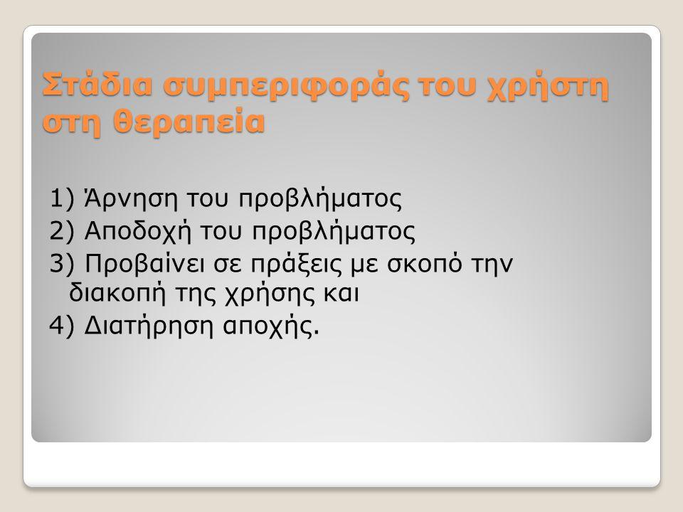 Στάδια συμπεριφοράς του χρήστη στη θεραπεία 1) Άρνηση του προβλήματος 2) Αποδοχή του προβλήματος 3) Προβαίνει σε πράξεις με σκοπό την διακοπή της χρήσ