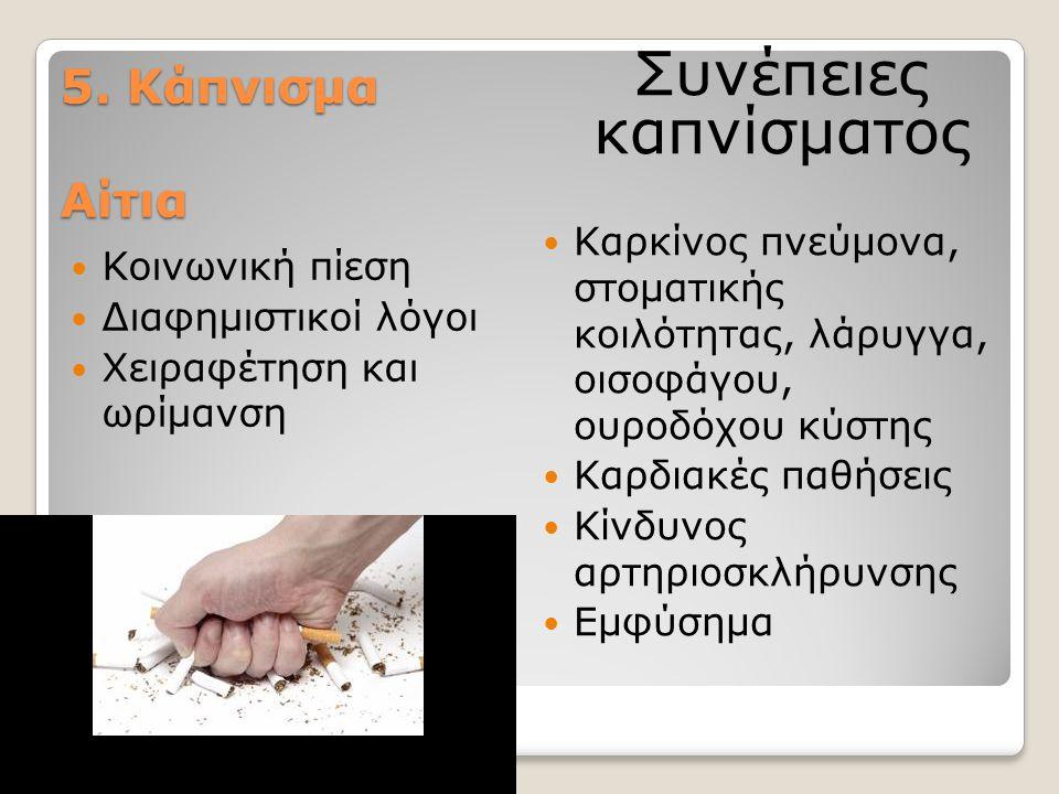 5. Κάπνισμα Αίτια Κοινωνική πίεση Διαφημιστικοί λόγοι Χειραφέτηση και ωρίμανση Καρκίνος πνεύμονα, στοματικής κοιλότητας, λάρυγγα, οισοφάγου, ουροδόχου