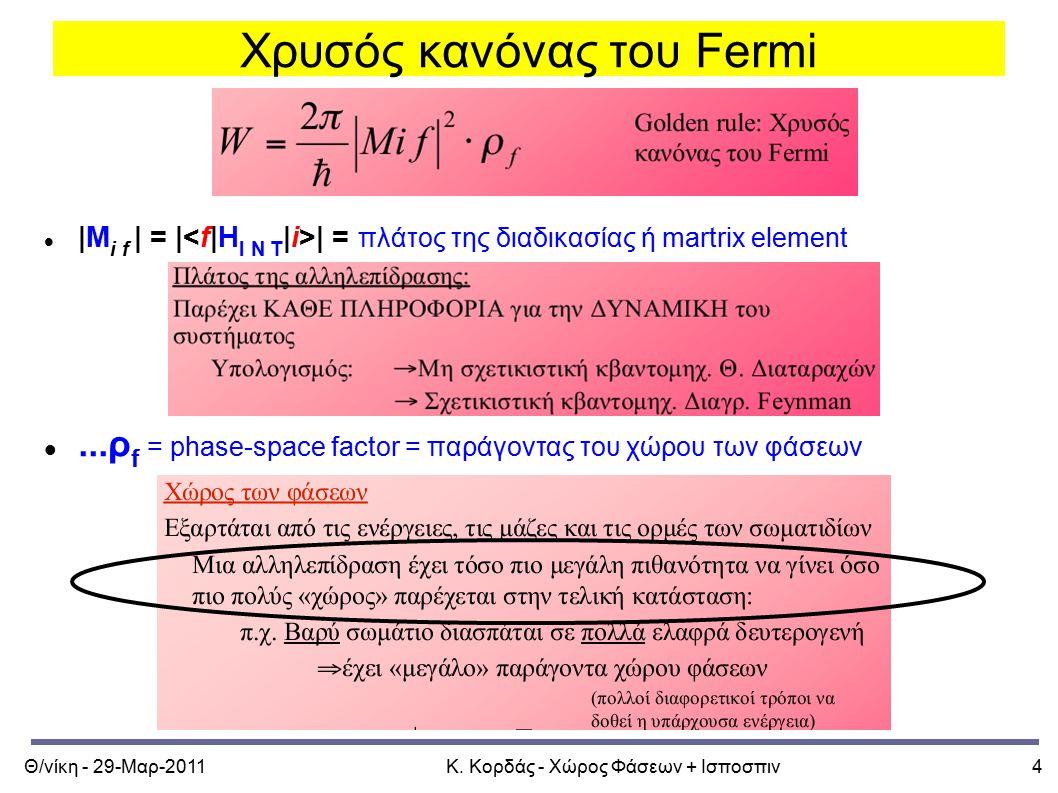Θ/νίκη - 29-Μαρ-2011Κ. Κορδάς - Χώρος Φάσεων + Ισποσπιν4 Χρυσός κανόνας του Fermi |M i f | = | | = πλάτος της διαδικασίας ή martrix element...ρ f = ph