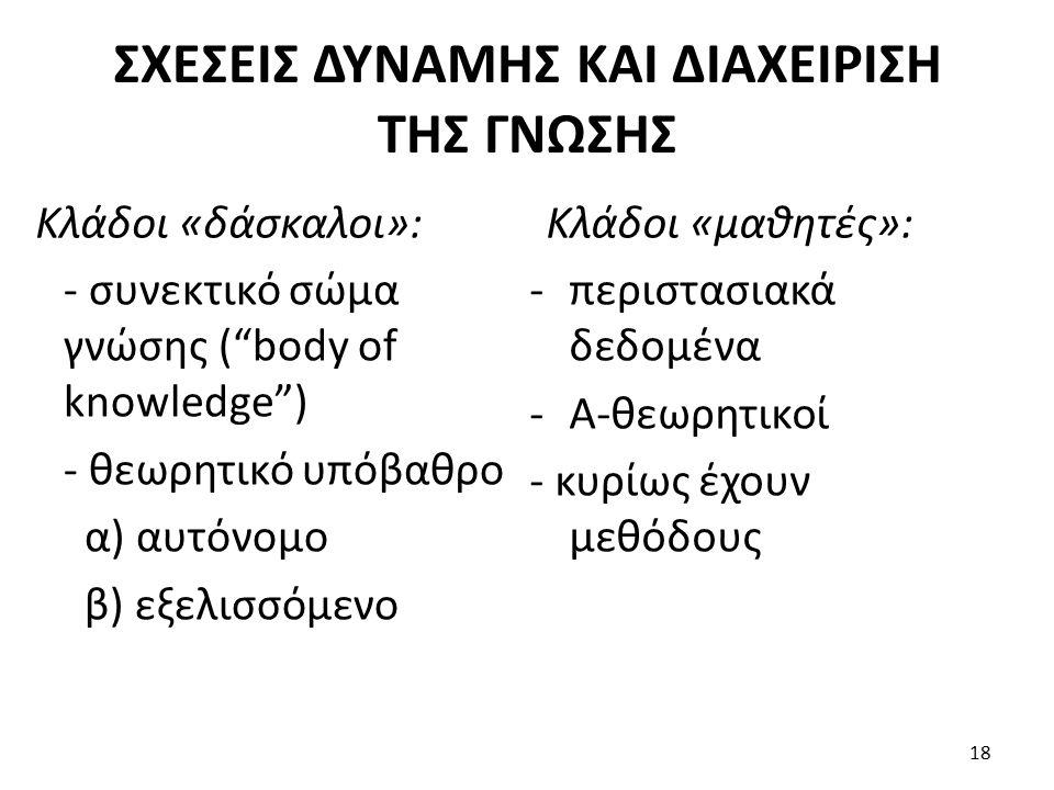 ΣΧΕΣΕΙΣ ΔΥΝΑΜΗΣ ΚΑΙ ΔΙΑΧΕΙΡΙΣΗ ΤΗΣ ΓΝΩΣΗΣ Κλάδοι «δάσκαλοι»: - συνεκτικό σώμα γνώσης ( body of knowledge ) - θεωρητικό υπόβαθρο α) αυτόνομο β) εξελισσόμενο Κλάδοι «μαθητές»: -περιστασιακά δεδομένα -Α-θεωρητικοί - κυρίως έχουν μεθόδους 18
