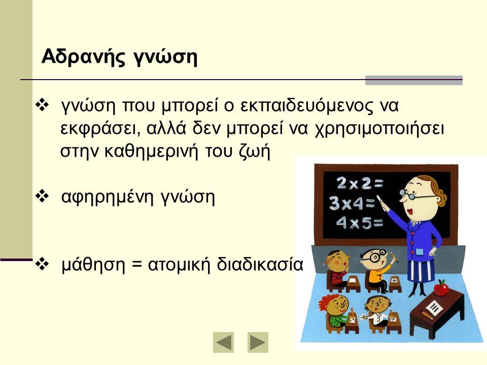  γνώση που μπορεί ο εκπαιδευόμενος να εκφράσει, αλλά δεν μπορεί να χρησιμοποιήσει στην καθημερινή του ζωή  αφηρημένη γνώση  μάθηση = ατομική διαδικ