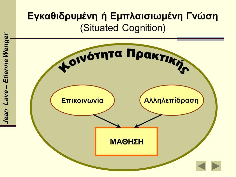 Εγκαθιδρυμένη ή Εμπλαισιωμένη Γνώση (Situated Cognition) Jean Lave – Etienne Wenger Επικοινωνία Αλληλεπίδραση ΜΑΘΗΣΗ