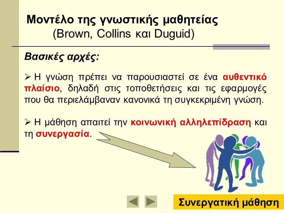 Mοντέλο της γνωστικής μαθητείας (Brown, Collins και Duguid) Βασικές αρχές:  Η γνώση πρέπει να παρουσιαστεί σε ένα αυθεντικό πλαίσιο, δηλαδή στις τοπο