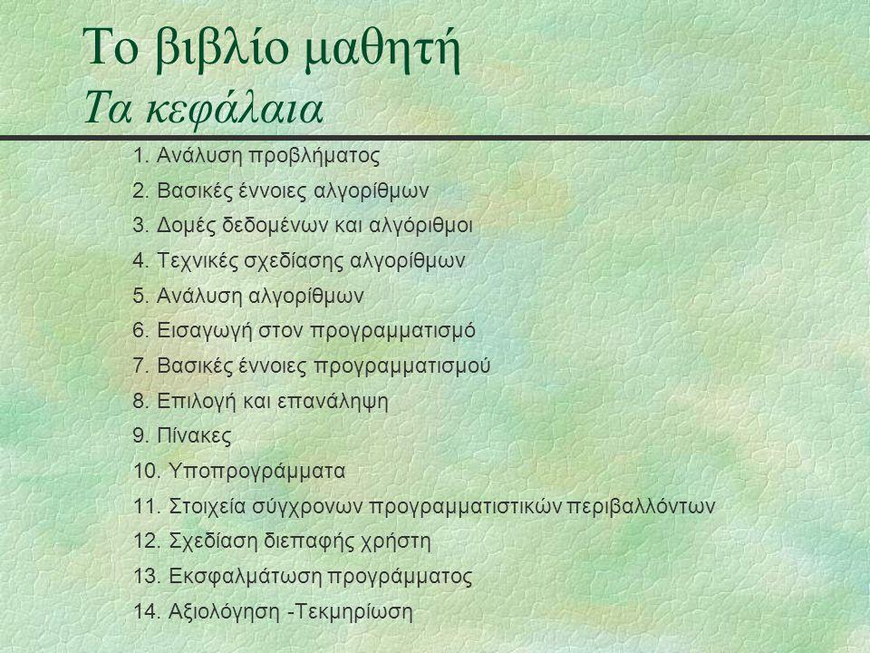 Το βιβλίο μαθητή Τα κεφάλαια 1. Ανάλυση προβλήματος 2.