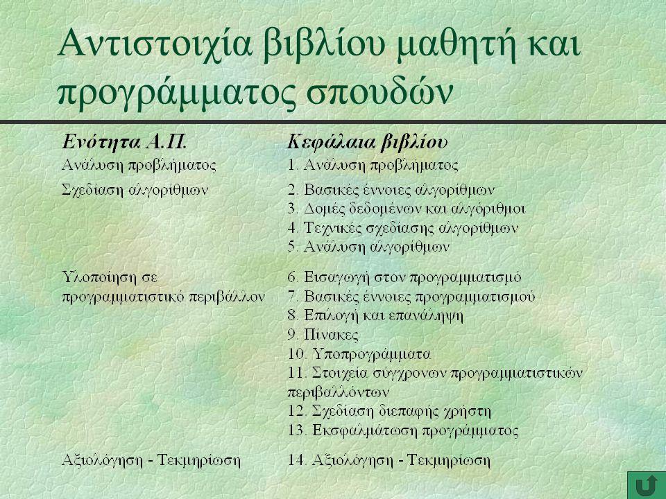 Αντιστοιχία βιβλίου μαθητή και προγράμματος σπουδών