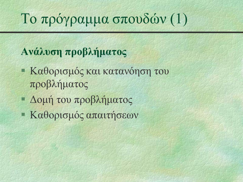 Το πρόγραμμα σπουδών (2) Σχεδίαση αλγορίθμων §Αλγόριθμοι - Βασικές έννοιες §Μεθοδολογίες σχεδιασμού αλγορίθμων §Ανάπτυξη αλγορίθμων §Έλεγχος αλγορίθμων