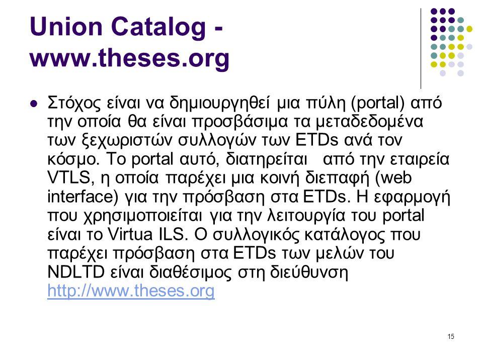 15 Union Catalog - www.theses.org Στόχος είναι να δημιουργηθεί μια πύλη (portal) από την οποία θα είναι προσβάσιμα τα μεταδεδομένα των ξεχωριστών συλλογών των ETDs ανά τον κόσμο.