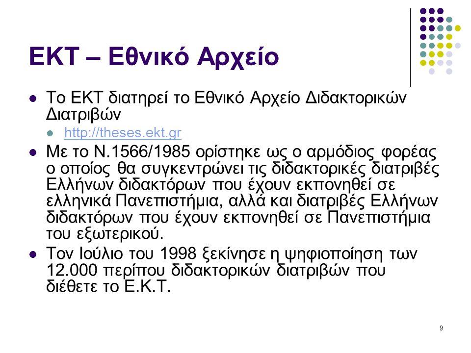 9 ΕΚΤ – Εθνικό Αρχείο Το ΕΚΤ διατηρεί το Εθνικό Αρχείο Διδακτορικών Διατριβών http://theses.ekt.gr Με το Ν.1566/1985 ορίστηκε ως ο αρμόδιος φορέας ο οποίος θα συγκεντρώνει τις διδακτορικές διατριβές Ελλήνων διδακτόρων που έχουν εκπονηθεί σε ελληνικά Πανεπιστήμια, αλλά και διατριβές Ελλήνων διδακτόρων που έχουν εκπονηθεί σε Πανεπιστήμια του εξωτερικού.