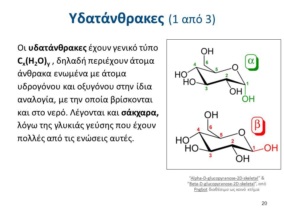 Υδατάνθρακες (1 από 3) Οι υδατάνθρακες έχουν γενικό τύπο C x (H 2 O) y, δηλαδή περιέχουν άτομα άνθρακα ενωμένα με άτομα υδρογόνου και οξυγόνου στην ίδ