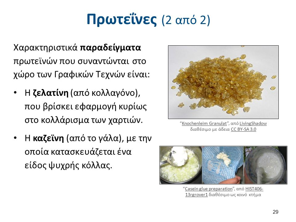 Πρωτεΐνες (2 από 2) Χαρακτηριστικά παραδείγματα πρωτεϊνών που συναντώνται στο χώρο των Γραφικών Τεχνών είναι: Η ζελατίνη (από κολλαγόνο), που βρίσκει