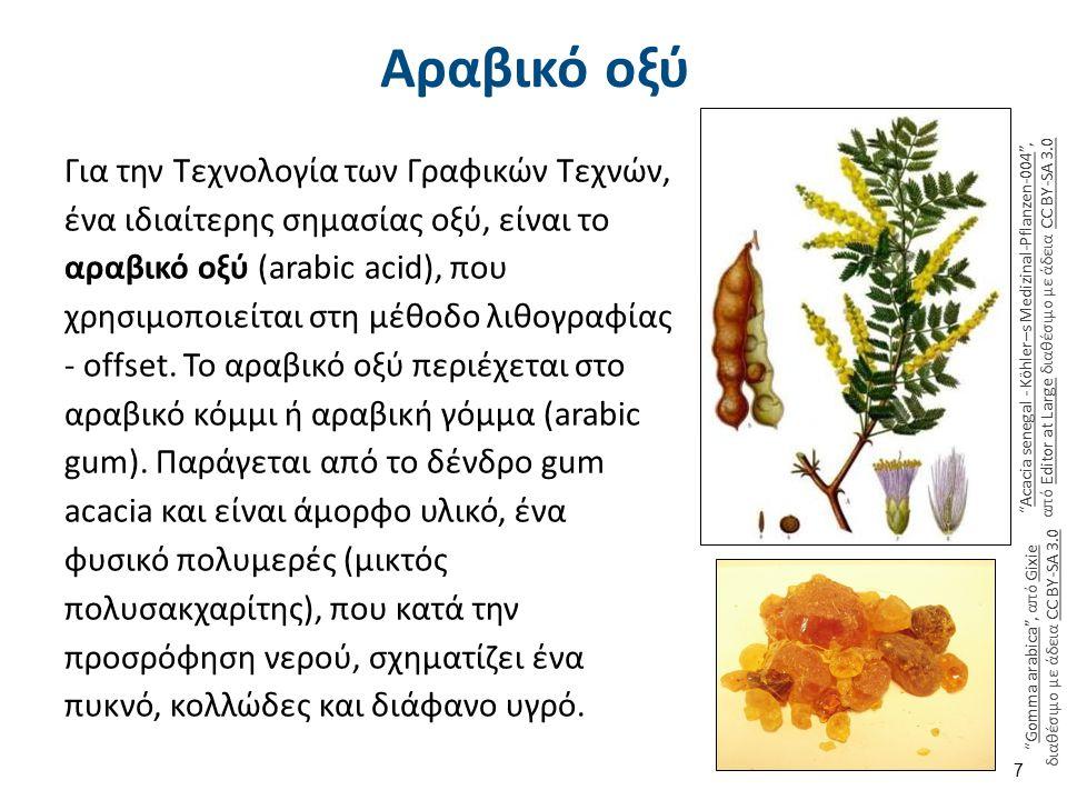 Αραβικό οξύ Για την Τεχνολογία των Γραφικών Τεχνών, ένα ιδιαίτερης σημασίας οξύ, είναι το αραβικό οξύ (arabic acid), που χρησιμοποιείται στη μέθοδο λι