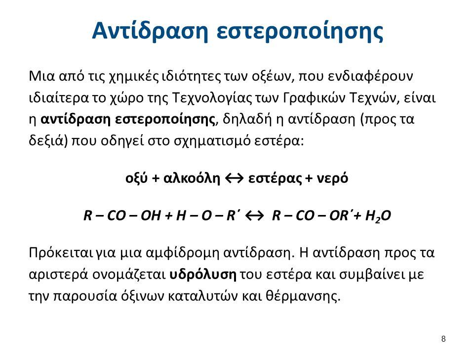 Αντίδραση εστεροποίησης Μια από τις χημικές ιδιότητες των οξέων, που ενδιαφέρουν ιδιαίτερα το χώρο της Τεχνολογίας των Γραφικών Τεχνών, είναι η αντίδρ