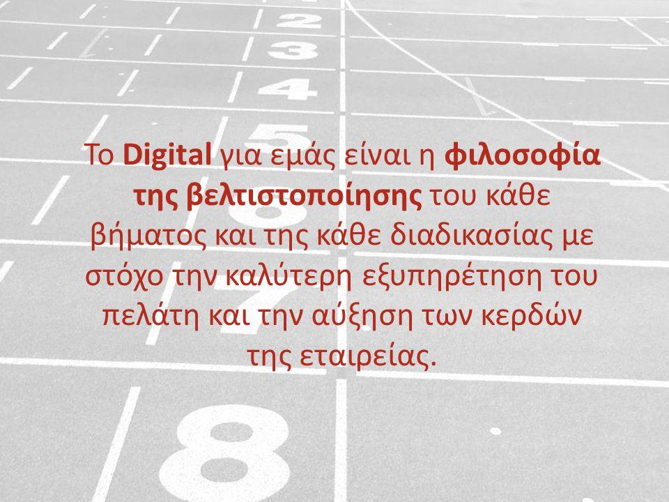 Το Digital για εμάς είναι η φιλοσοφία της βελτιστοποίησης του κάθε βήματος και της κάθε διαδικασίας με στόχο την καλύτερη εξυπηρέτηση του πελάτη και την αύξηση των κερδών της εταιρείας.