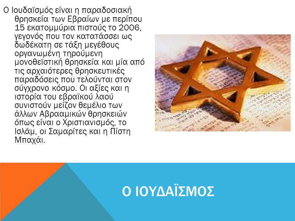 Ο Ιουδαϊσμός είναι η παραδοσιακή θρησκεία των Εβραίων με περίπου 15 εκατομμύρια πιστούς το 2006, γεγονός που τον κατατάσσει ως δωδέκατη σε τάξη μεγέθο