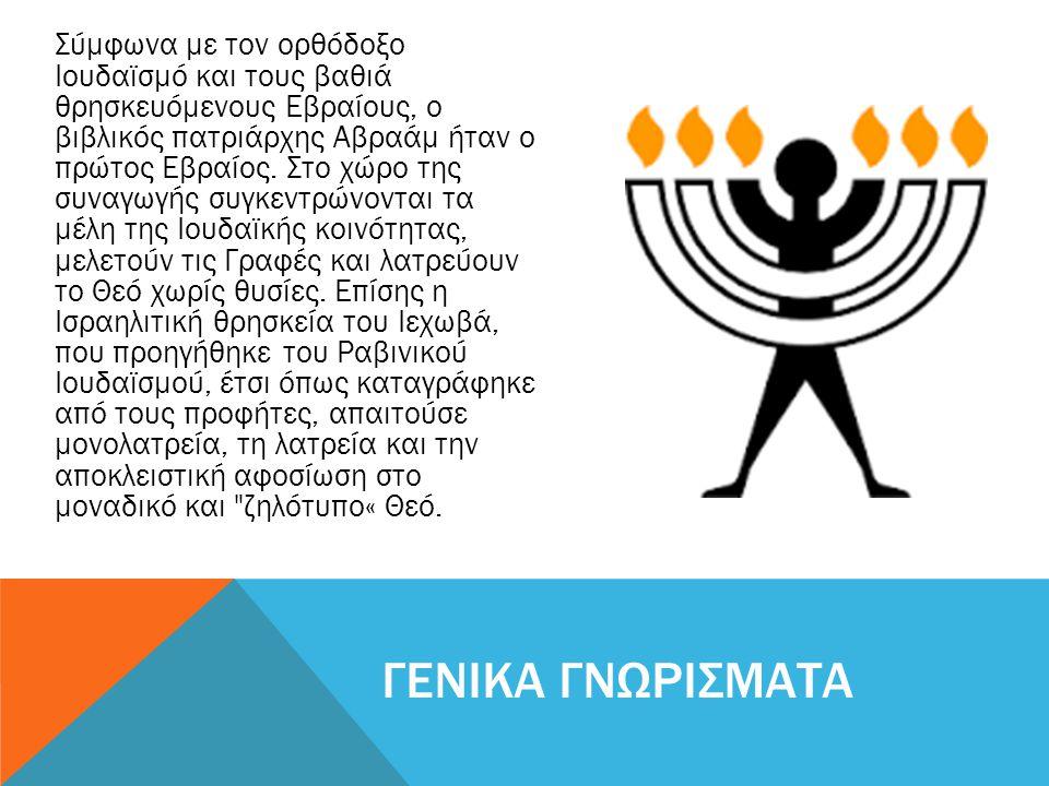 Σύµφωνα µε τον ορθόδοξο Ιουδαϊσµό και τους βαθιά θρησκευόµενους Εβραίους, ο βιβλικός πατριάρχης Αβραάµ ήταν ο πρώτος Εβραίος. Στο χώρο της συναγωγής σ