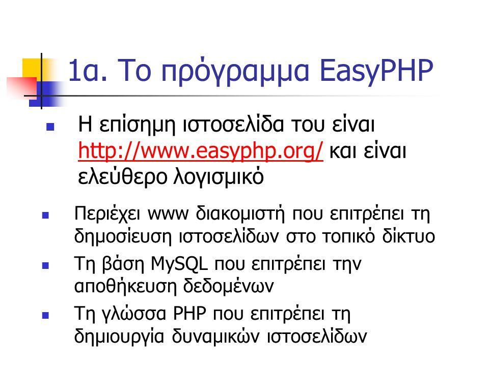 1α. Το πρόγραμμα EasyPHP Η επίσημη ιστοσελίδα του είναι http://www.easyphp.org/ και είναι ελεύθερο λογισμικό http://www.easyphp.org/ Περιέχει www διακ