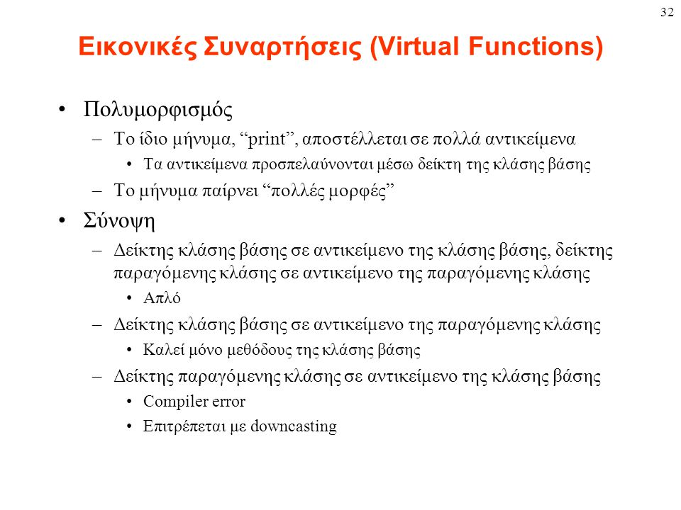 """32 Εικονικές Συναρτήσεις (Virtual Functions) Πολυμορφισμός –Το ίδιο μήνυμα, """"print"""", αποστέλλεται σε πολλά αντικείμενα Τα αντικείμενα προσπελαύνονται"""