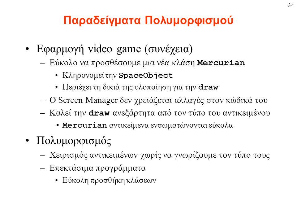 34 Παραδείγματα Πολυμορφισμού Εφαρμογή video game (συνέχεια) –Εύκολο να προσθέσουμε μια νέα κλάση Mercurian Κληρονομεί την SpaceObject Περιέχει τη δικ