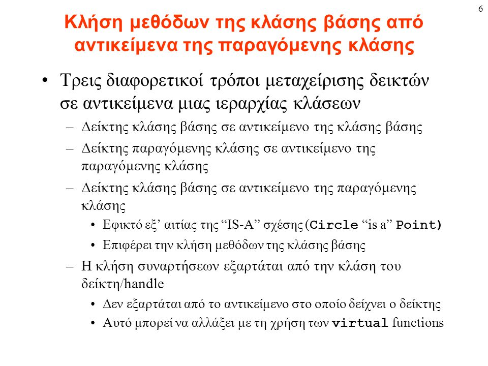 6 Κλήση μεθόδων της κλάσης βάσης από αντικείμενα της παραγόμενης κλάσης Τρεις διαφορετικοί τρόποι μεταχείρισης δεικτών σε αντικείμενα μιας ιεραρχίας κ
